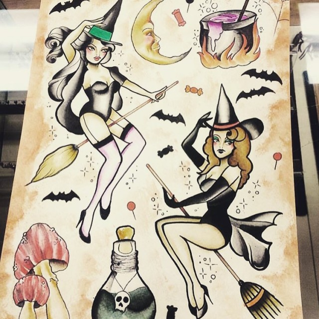 Witch Tattoos Flash Set