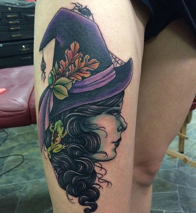 Profile Witch Tattoo