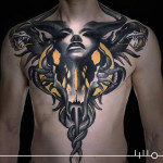 big chest abstract tattoo art