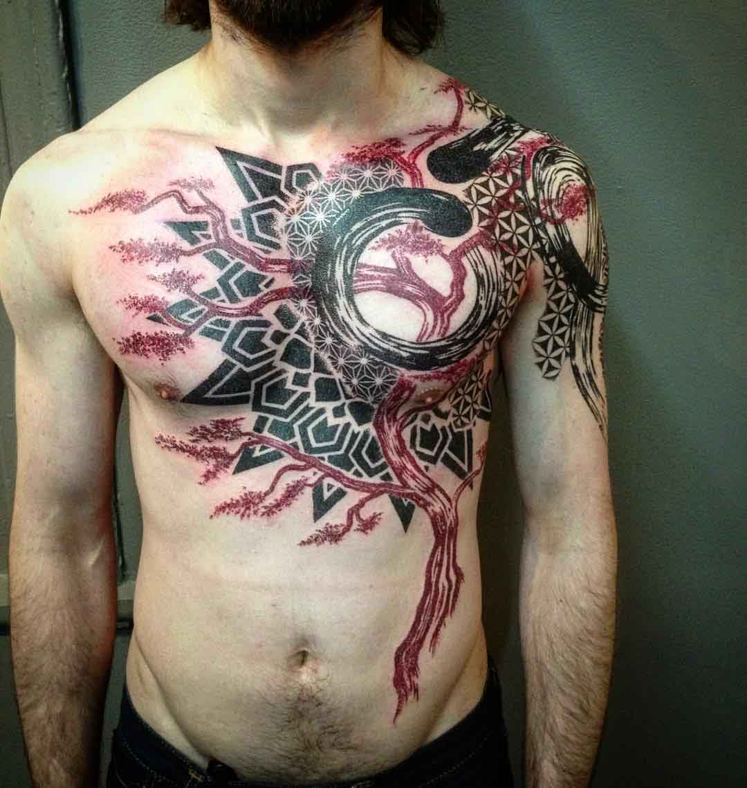 Image result for chest abstract tattoo