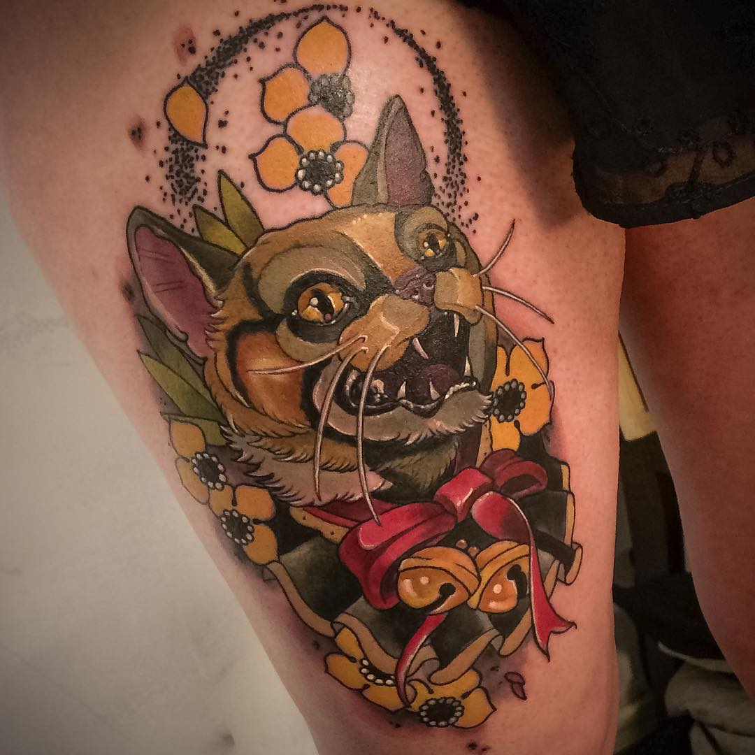 a thigh decorated with Angry Cat Tattoo