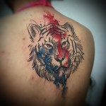 Back Watercolor Tiger Tattoo