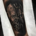 Black and Grey Bane Tattoo Portrait
