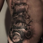 Body Side Nautical Tattoo Ship
