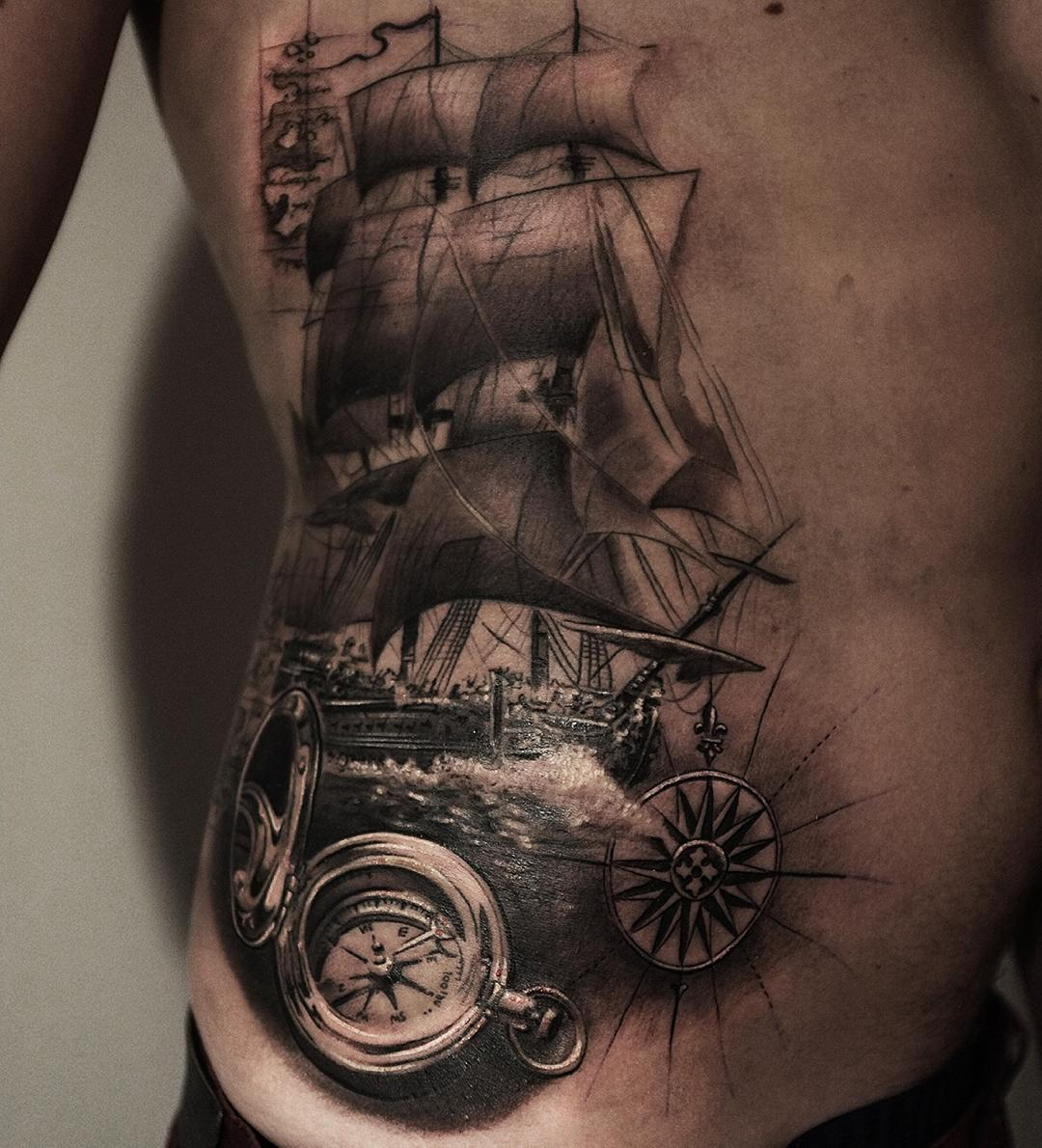 great nautical tattoo plot -sailing ship and all ather nautical elements here are awesome
