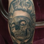 Chef Skull Tattoo on Leg