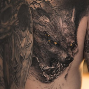 Close Up Fenrir Tattoo