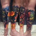 star wars tattoo with yoda and darth vader loking like a comic book page