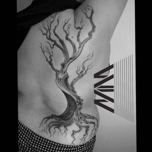 Body Side Dead Tree Tattoo