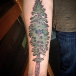 great Evergreen Tattoo on arm