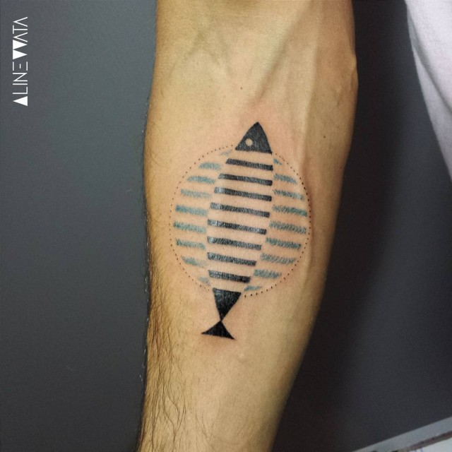 schematic fish tattoo