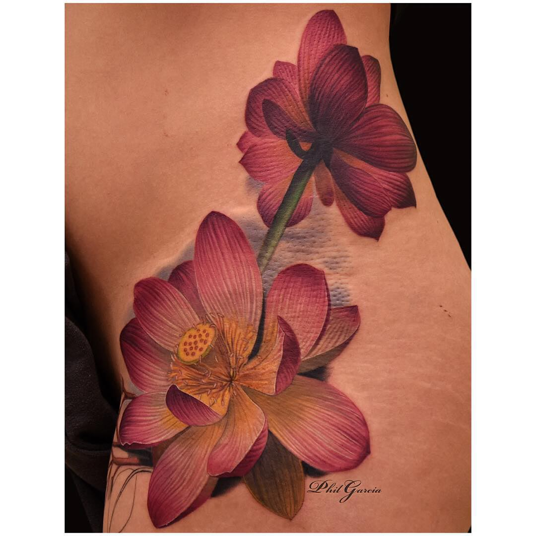 the beginnign of the flower tattoos