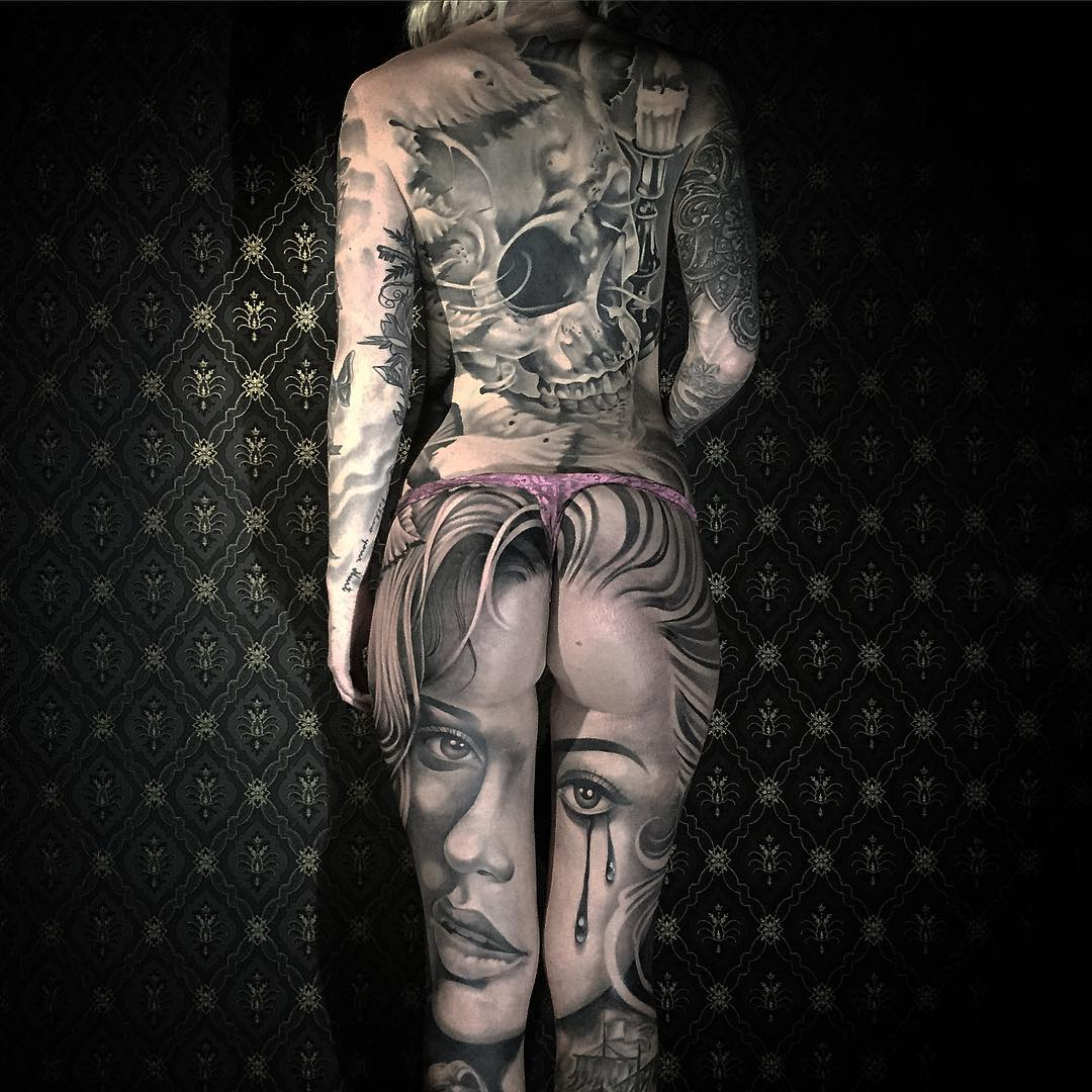 an awesome full body tattooed girl