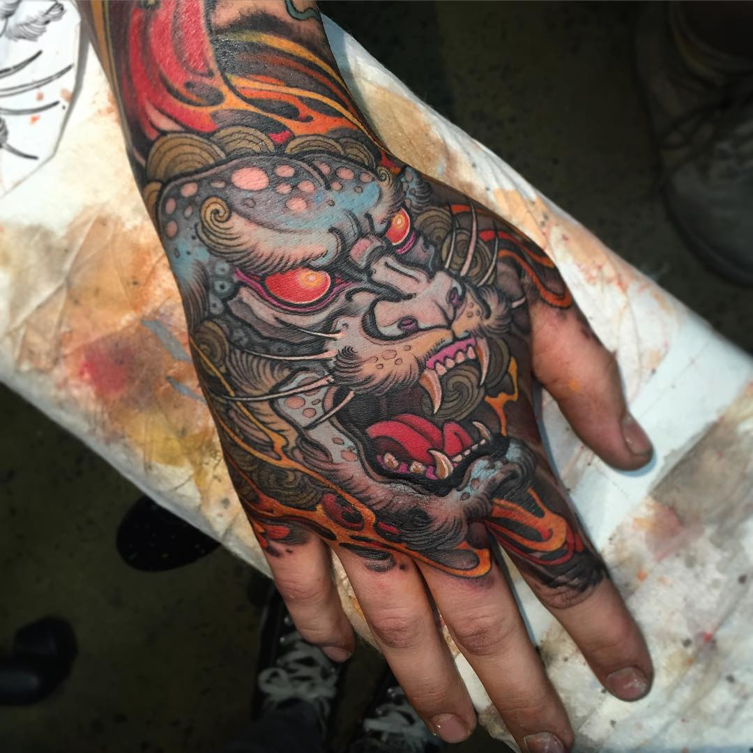demon japanese tattoo on hand