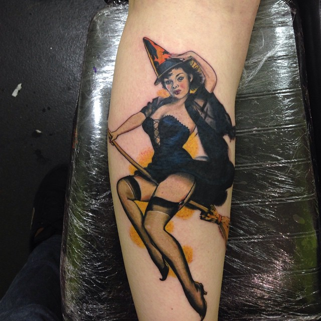 Beautiful Broom Flying Witch Tattoo