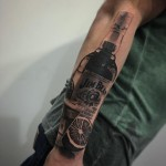 Jim Beam Bottle Tattoo on Arm
