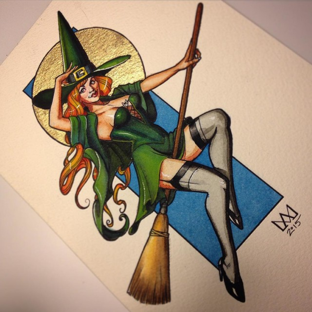 Witch on Broom Tattoo Design