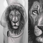 lion face tattoo on shoulder