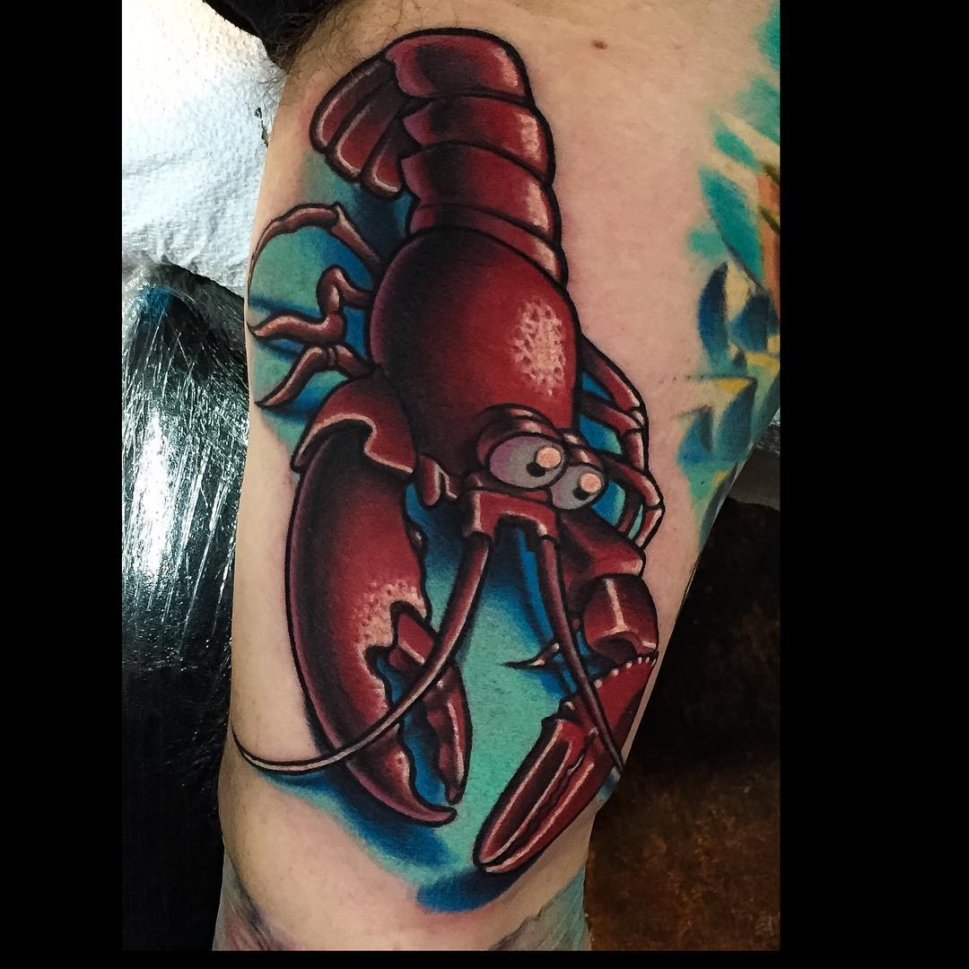 funny looking red lobster tattoo in new school style