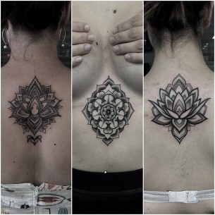 Dotwork Mandala Tattoos and Lotus
