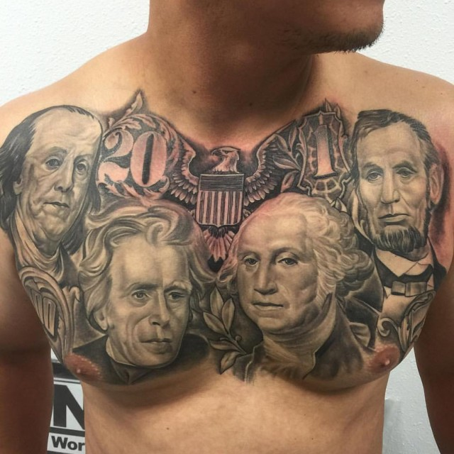 Chest tattoo of four dollar presidents
