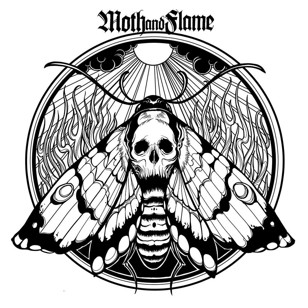 a tattoo sketch of a moth with a skull on its body on the flame background