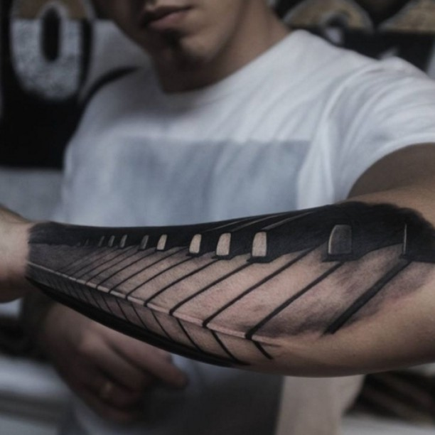 the whole piano keyboard tattoo done in prospective