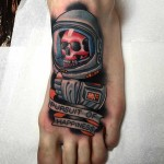 foot tattoo space skull tattoo neo-traditional style