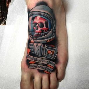 Astronaut Skeleton Foot Tattoo