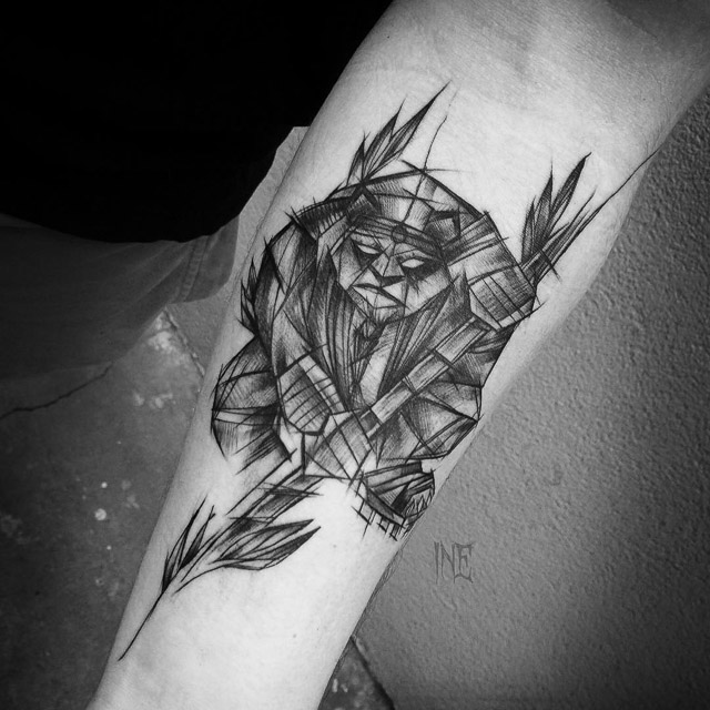 sketch panda tattoo design