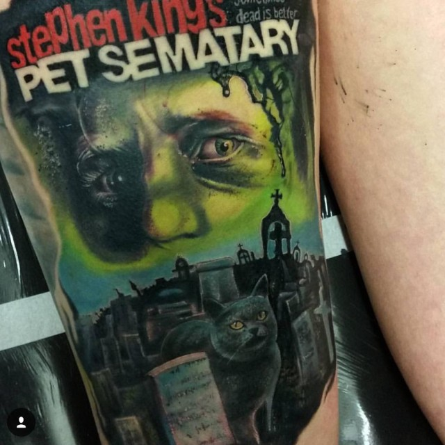 back of thigh Pet Cemetary Tattoo