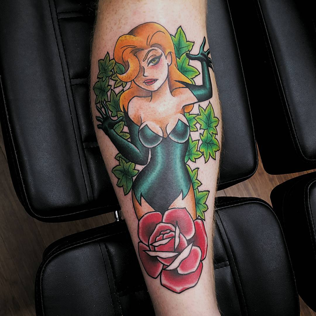 new school tattoo of poison ivy character