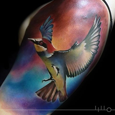 Realistic Bird Tattoo with opened wings
