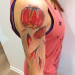 Red Sky Lanterns Tattoo on Shoulder