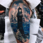 Shoulder Realistic Lighthouse Tattoo