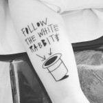 Simple Follow the White Rabbit Tattoo