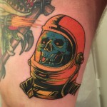 Skull Helmet Tattoo