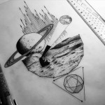 a tattoo design about space exploration