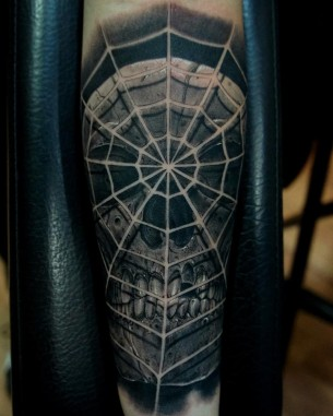 Spider Web Skull Tattoo
