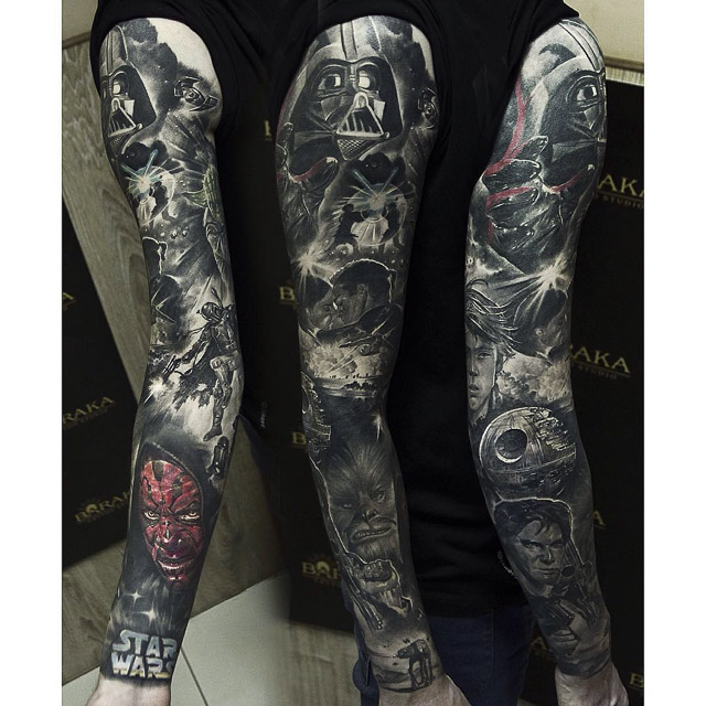 Full sleeve star wars tattoo