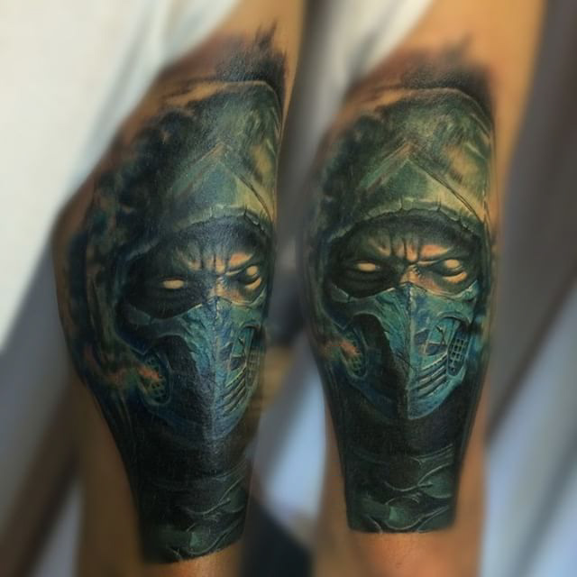 realistic tattoo portrait of Subzero