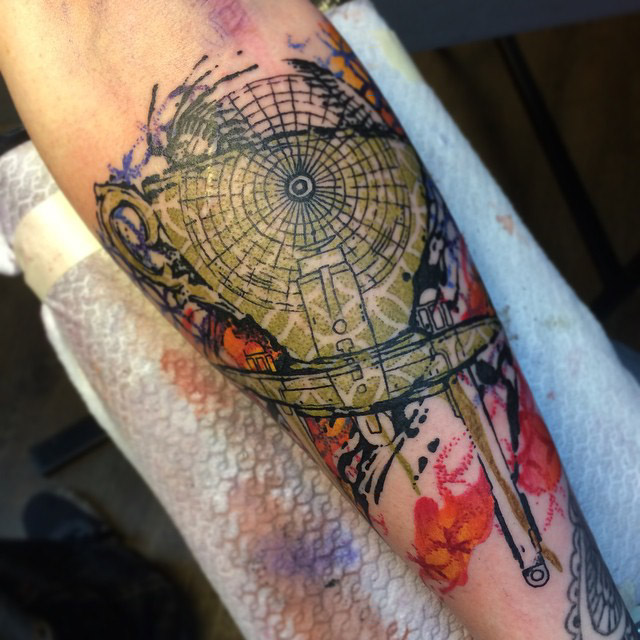 very abstract tattoo on arm