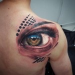 shoulder blade realistic tattoo of and eyeball