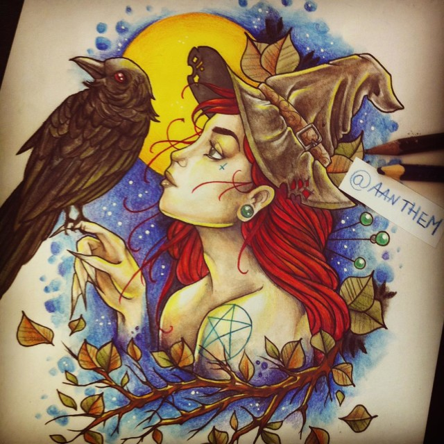 Red-Haired Witch and Raven Tattoo