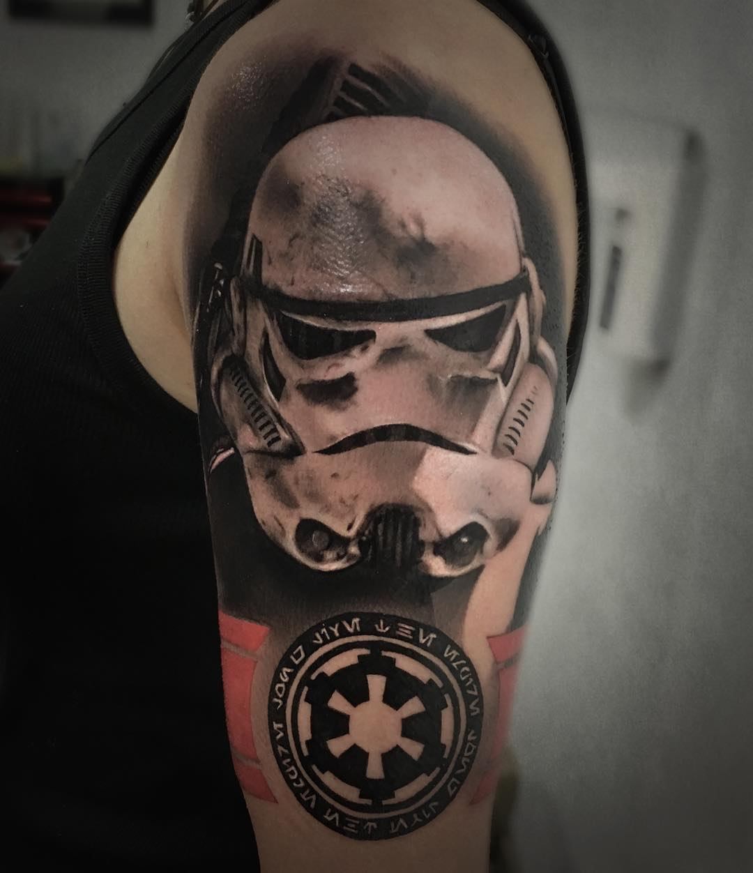 black and white stormtrooper tattoo