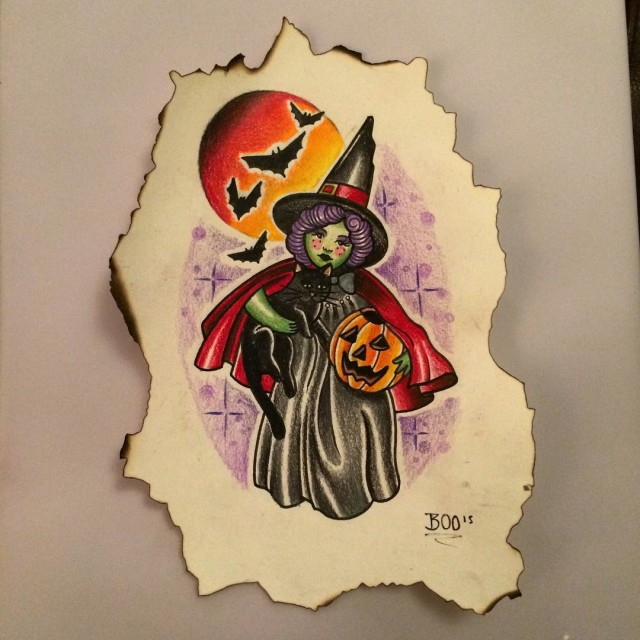 Halloween Witch Tattoo Sketch