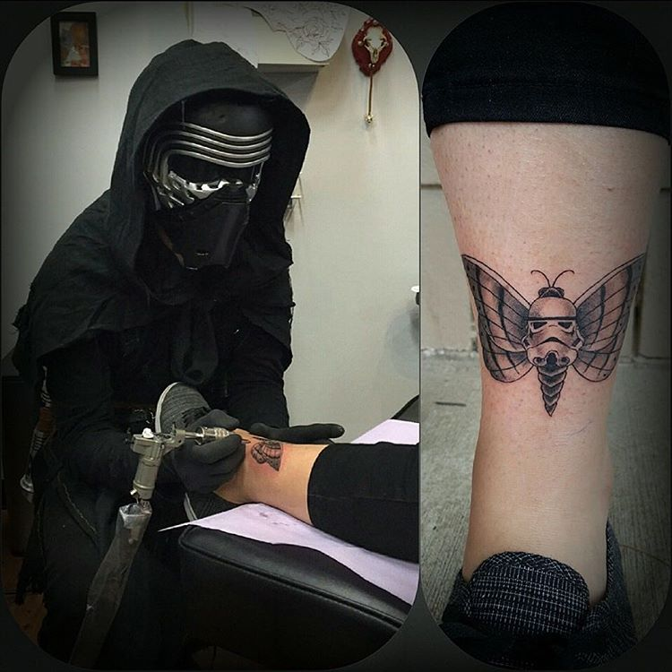 cool stormtrooper and butterfly tattoo