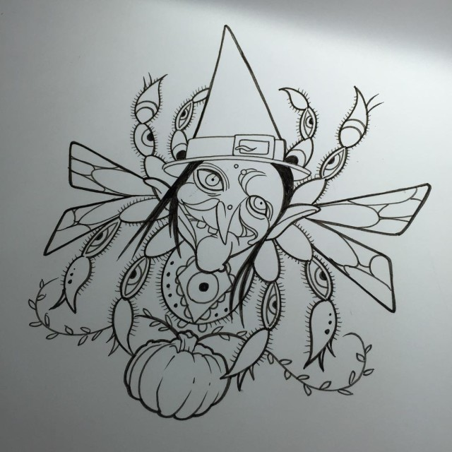Neo-Traditional Witch Tattoo Design