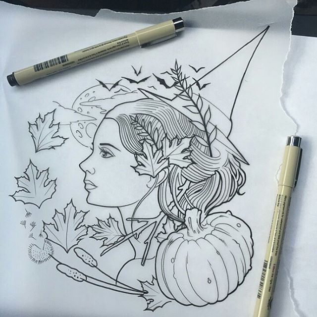 Falling Leafs Witch Tattoo Sketch