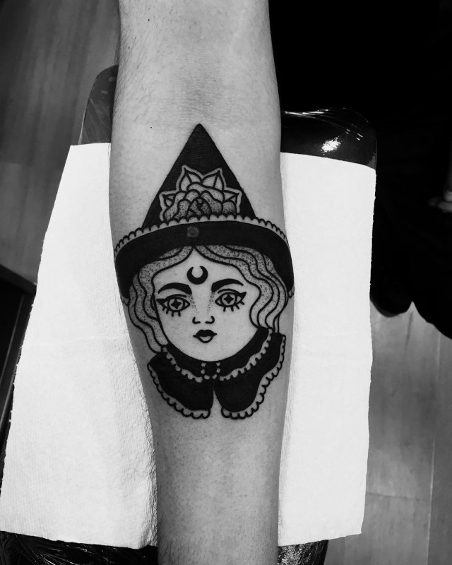 Strange Drawn Witch Tattoo